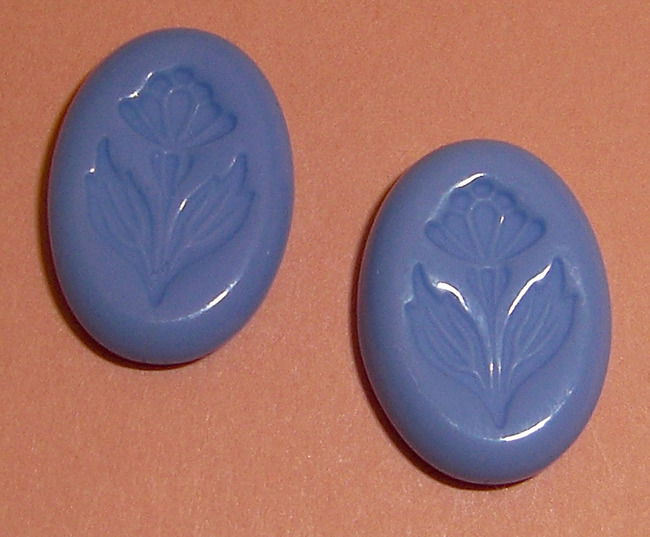 2 pcs. glass blue flower intaglio cabochons 14x10mm - f2193