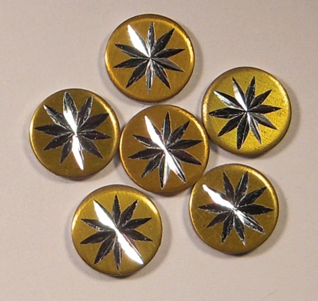 18 pcs. diamond cut aluminum starburst cabochons 8mm - f1681