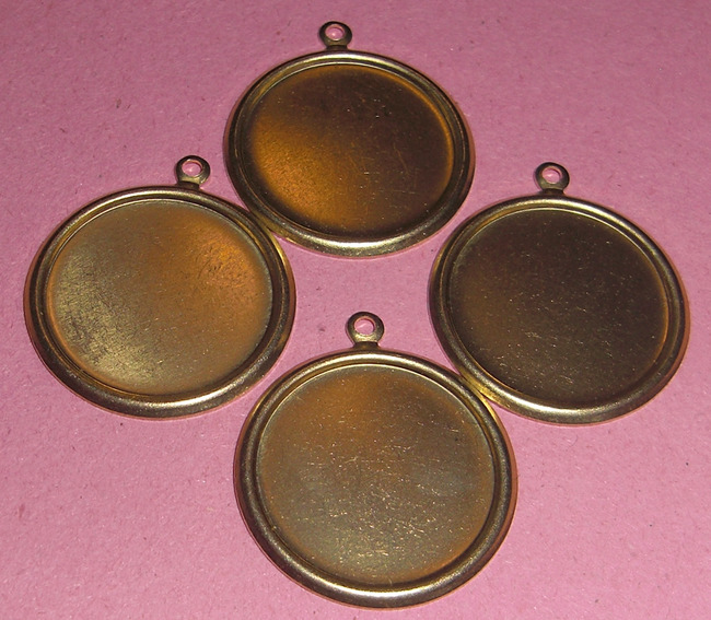 12 pcs. raw brass 18mm flat back cabochon settings - f1859