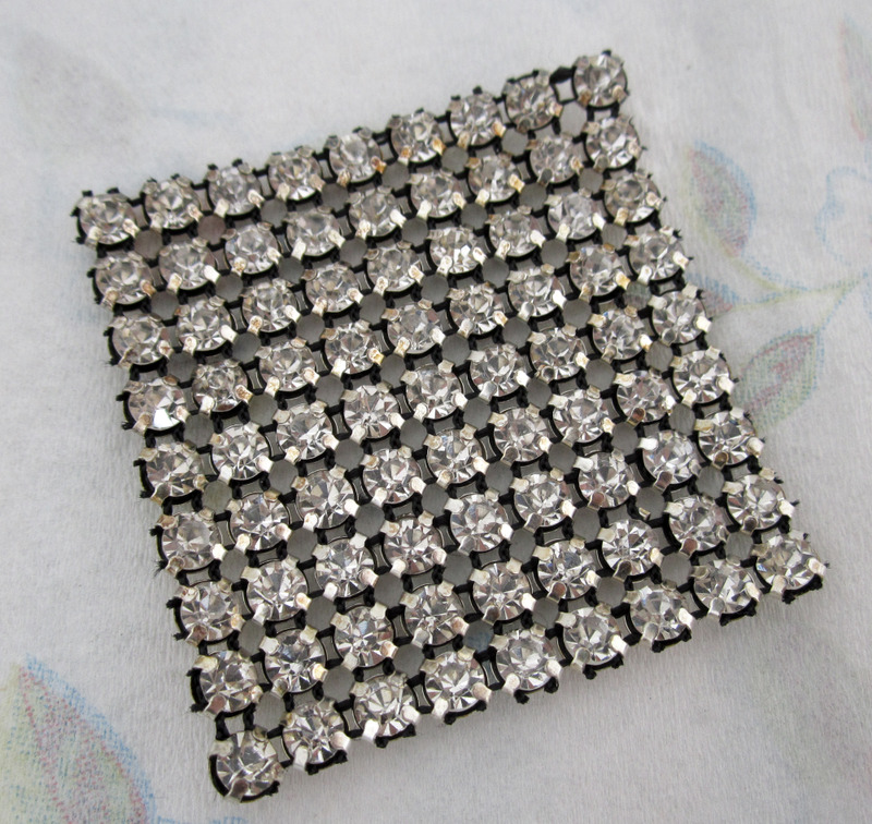 prong set rhinestone fabric square 47x47mm - f4416