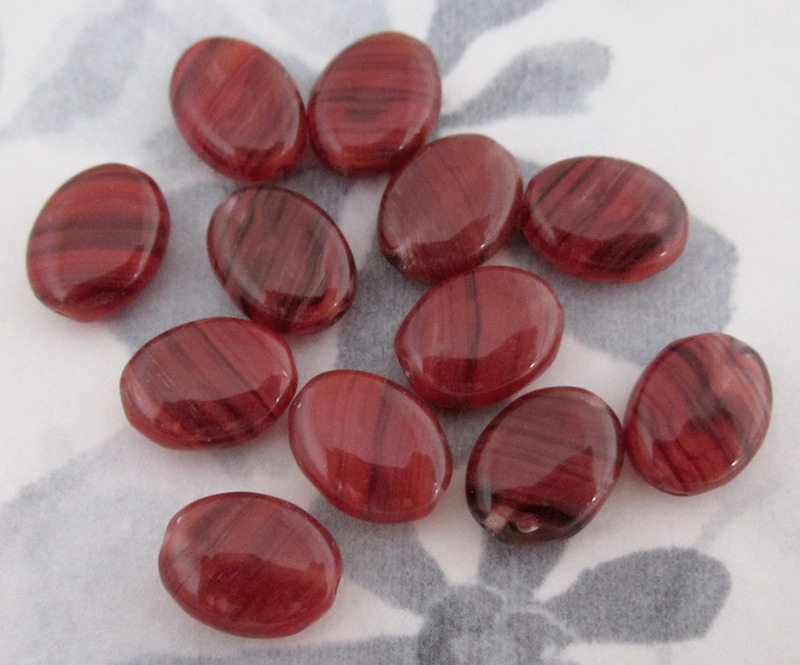 12 pcs. glass oval red & brown hurricane beads 12x9x4mm - f2711