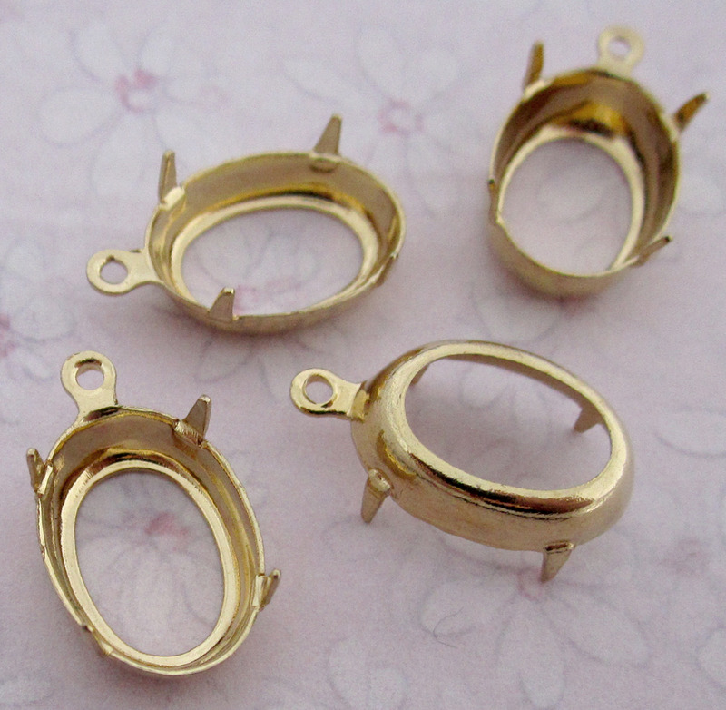 12 pcs. gold tone plated oval rhinestone settings w loop 14x10mm - f2753