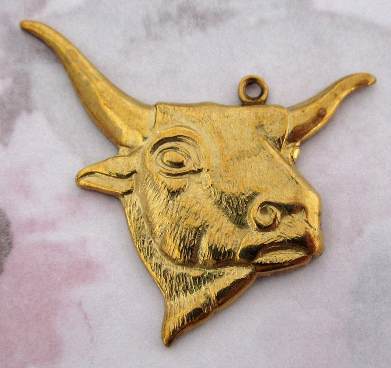 3 pcs. gold tone longhorn bull stamping pendant charms 35x30mm - f3217