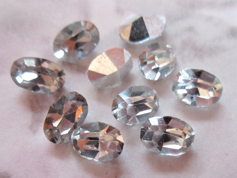 10 pcs. machine cut crystal clear silver foiled rhinestones 6x4mm - f3257