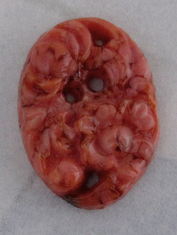 1 pc. glass coral matrix pierced carved floral cabochon 18x13mm - f3276