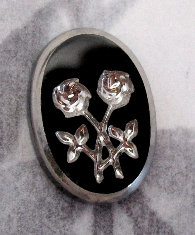 1 pc. glass silver foiled intaglio rose flower cabochon 14x10mm - f4028