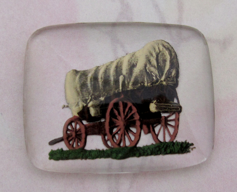 1 pc. glass reverse painted intaglio covered wagon cabochon 28x22mm - f4099