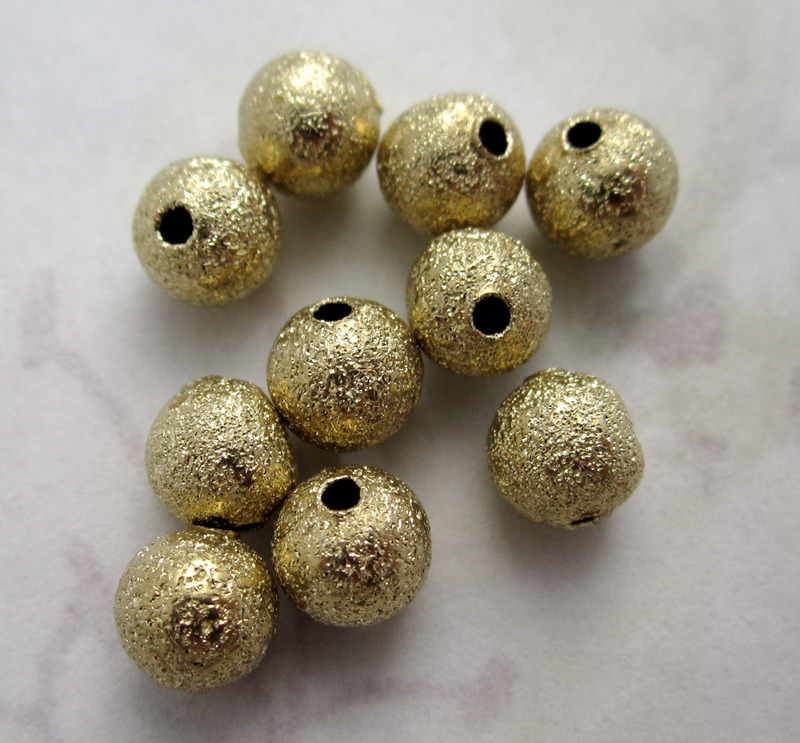 10 pcs. gold tone textured round metal beads 6mm f4536