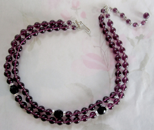 2 strand amethyst purple glass bead necklace - j5001