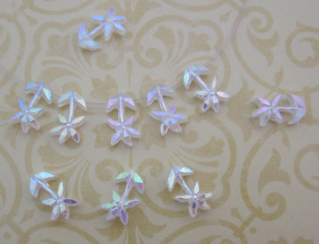 30 pcs. clear AB flower bead drop charms 13x8mm - r47