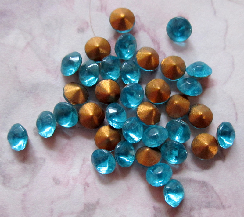 100 pcs. glass fire polished aqua blue rhinestones ss18 - f3018