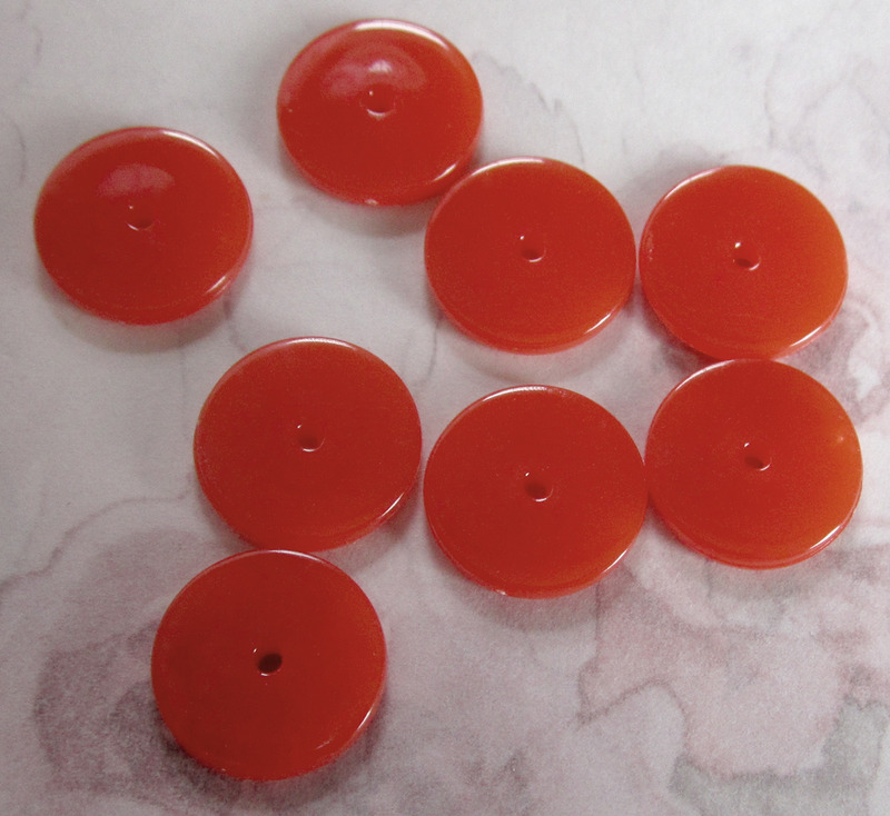24 pcs. plastic orange red disk beads 14x2mm - r150