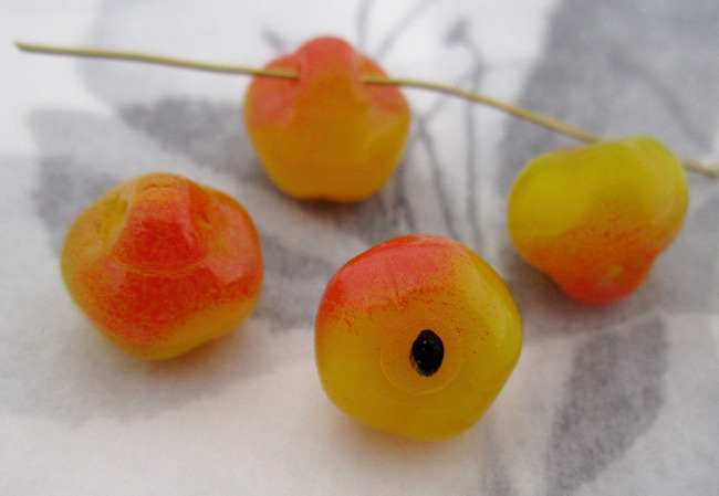 12 pcs. glass apple fruit bead charms 12x9mm - f4354