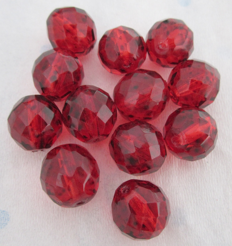 12 pcs. fire polished glass faceted beads red 14mm - f4432