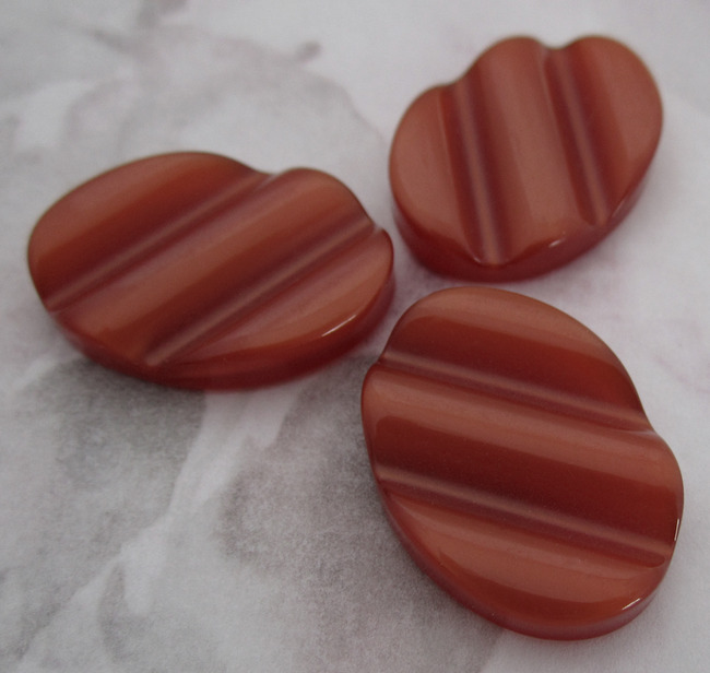 15 pcs. rust moon glow ridged flat back cabochons 29x17mm - f2338