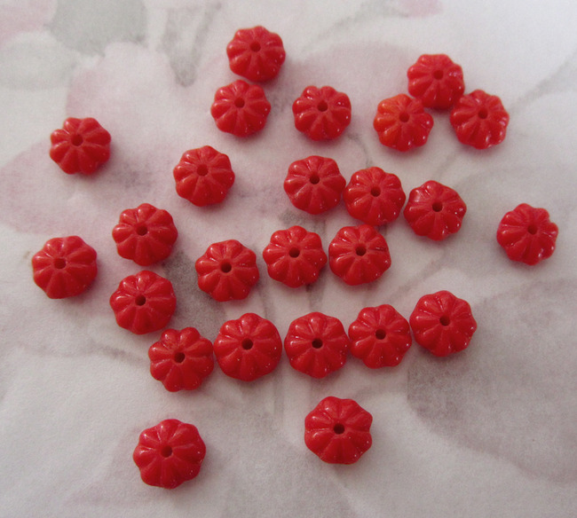 25 pcs. glass red flower beads 6x4mm - f2587