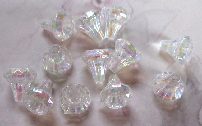 12 pcs. clear AB flared beads / bead caps 9x8mm - r89