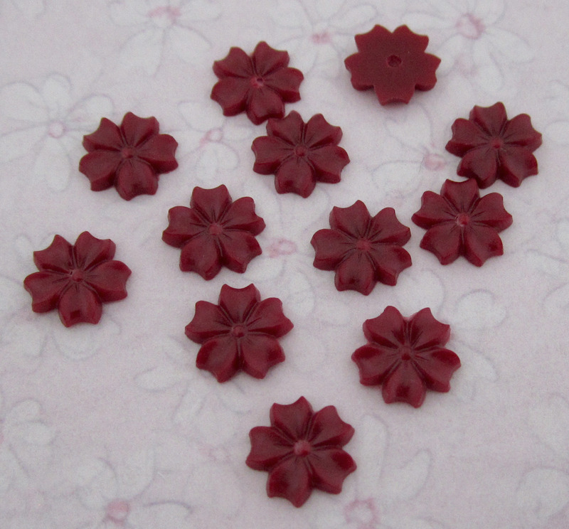 12 pcs. deep red burgundy plastic flower cabochons 8.5mm - f3355