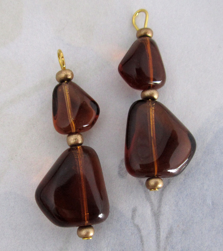 2 pcs. glass smoky topaz bead drop charms 31x13mm - f4135