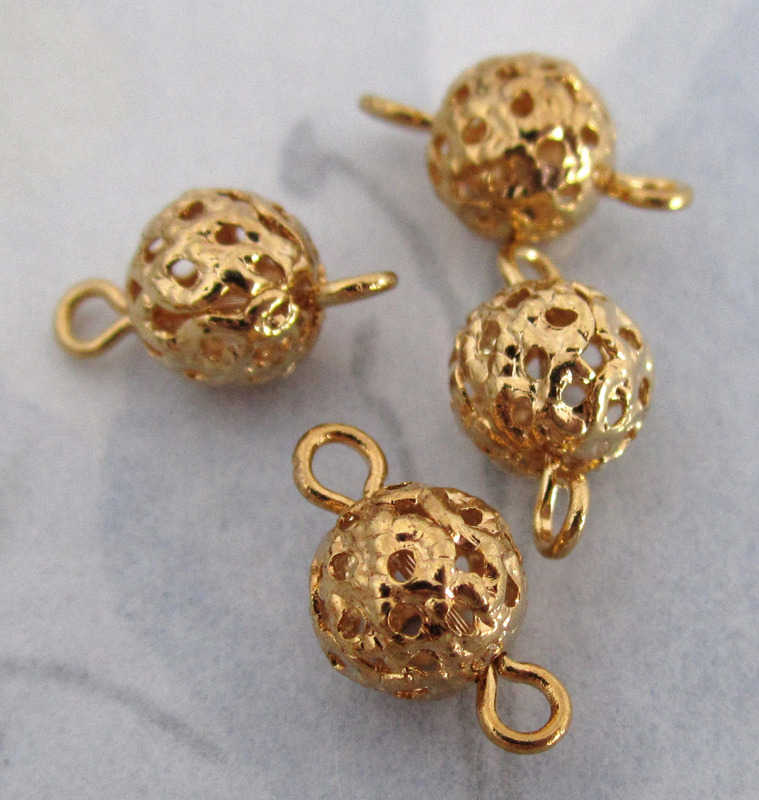 12 pcs. gold tone filigree connector bead charms 7mm - f4139