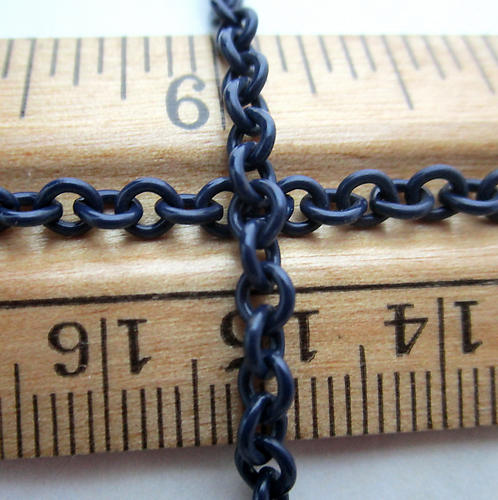 4 feet navy blue cold enamel steel cable chain 3mm wide - c25