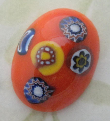4 pcs. glass orange millefiori flat back oval cabochons 20x15mm - d04