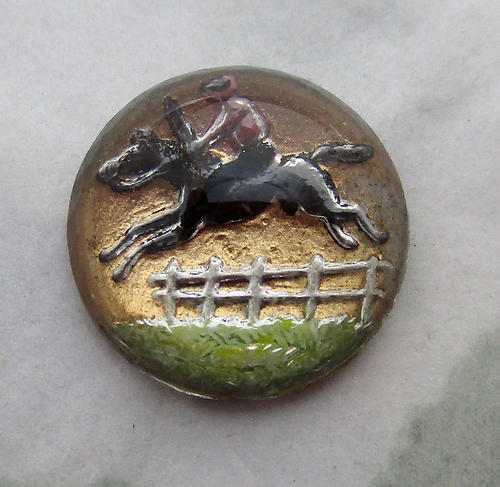 glass reverse painted intaglio steeplechase leaping horse and jockey cabochon 13mm - d123