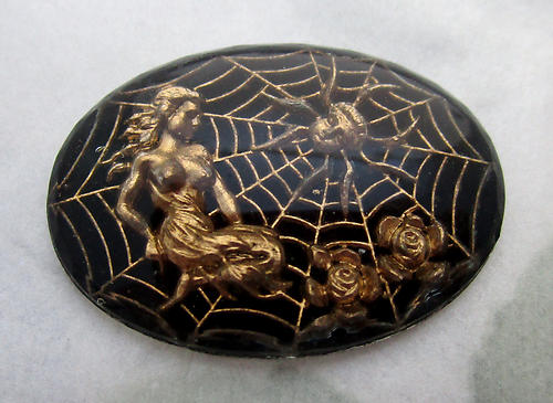 glass reverse painted intaglio woman in a spider web cabochon 25x18mm - d130