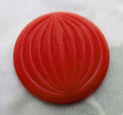 2 pcs. glass coral red opaque ridged melon globe flat back cabochons 22mm - d137
