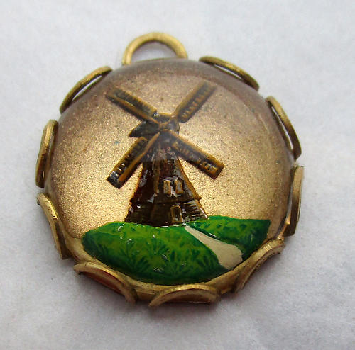 glass reverse painted intaglio windmill charm 13mm - d165