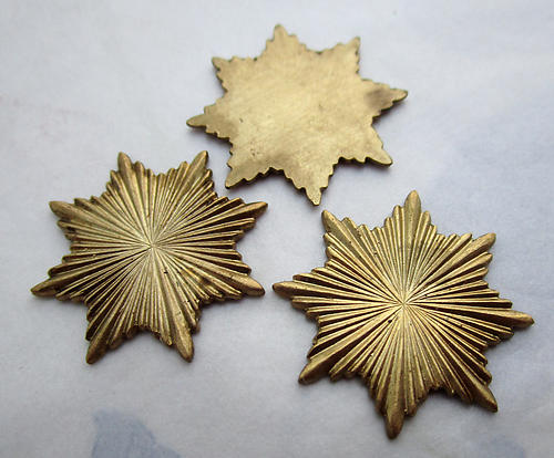 4 pcs. raw brass starburst star solid flat back cabochons 22mm - d166