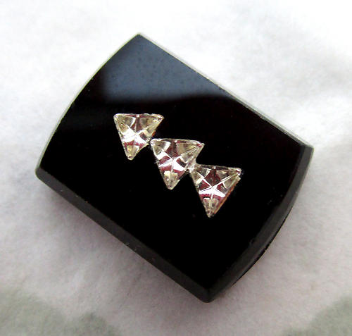 2 pcs. glass black jet w stacked crystal triangle inlay insets flat back cabochons 14.5x11mm - d1776