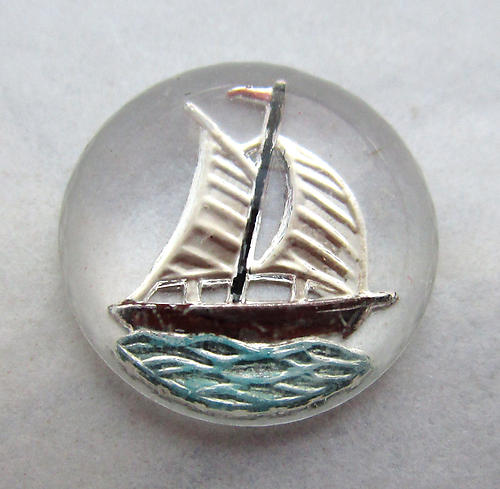 glass reverse painted intaglio sailboat cabochon 13mm - d177