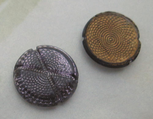 6 pcs. antique Victorian bumpy back reflector purple cabochons w X indentation 13mm - d24