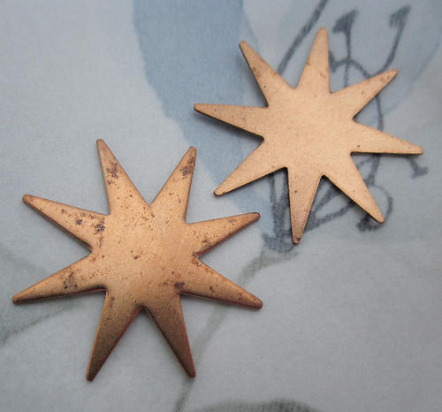 5 pcs. raw brass starburst stampings 28mm - d33