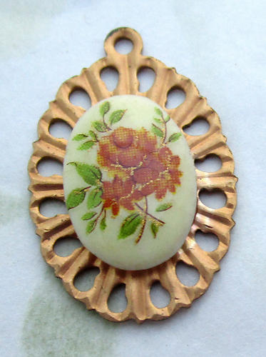 2 pcs. floral flower print cabochons on raw brass starburst pendant charms 22x16mm - d374