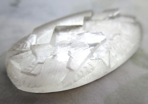 glass clear foiled partially frosted cubist relief flat back cabochon 29x15mm - d405