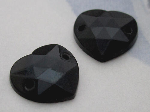6 pcs. glass faceted onyx black heart sew on jewel flat back cabochons 12mm - d40