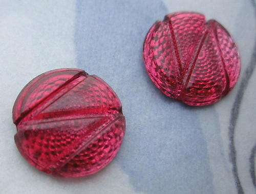 6 pcs. glass Victorian red pink swirl reflector foiled cabochons 13mm - d57