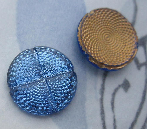 6 pcs. glass Victorian sapphire blue swirl reflector foiled cabochons 13mm - d58