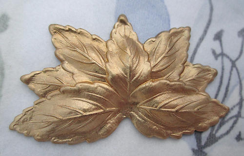 2 pcs. raw brass leaf leaves stampings 50x28mm - d80