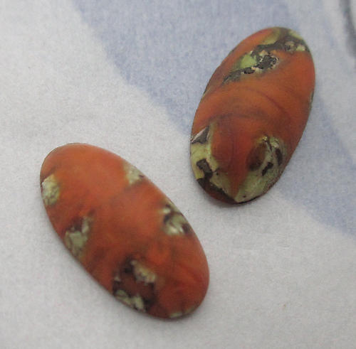 6 pcs. matte glass brown orange w green inclusions cabochons 12x6mm - d84