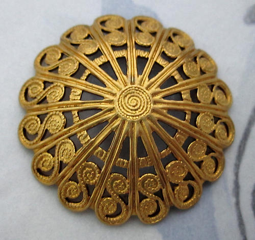 3 pcs. raw brass filigree flower domed stampings 28mm - d90