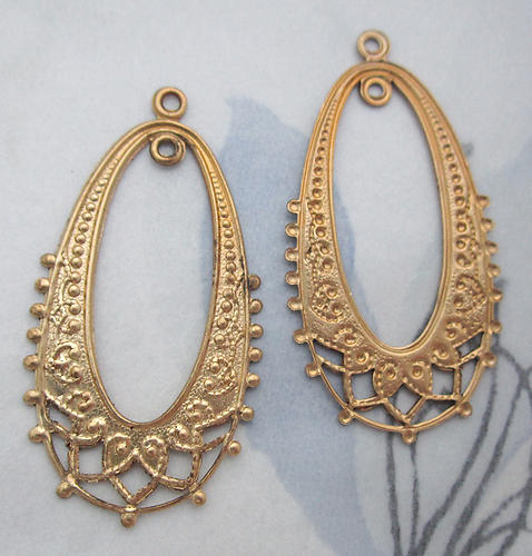 6 pcs. raw brass stamping oval hoop filigree charms 36x20mm - d97