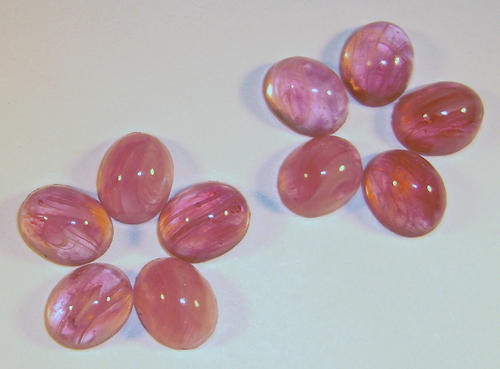 30 pcs. glass pink marbled oval flat back cabochons 10x8mm - f1604