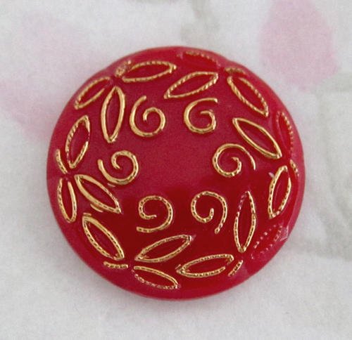 5 pcs. glass red gold floral relief cabochon 23mm - f1919