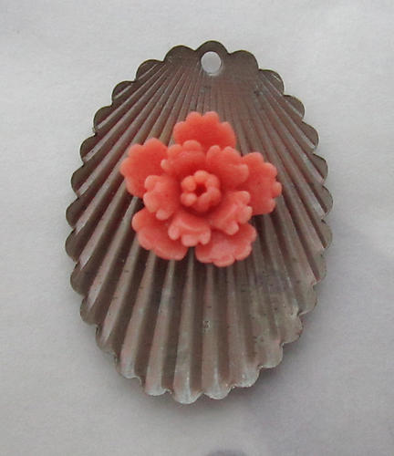 4 pcs. celluloid coral orange flower cabochon on raw brass scalloped base charms 23x17mm - f3635