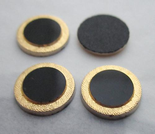 12 pcs. glass black w gold tone plated edge flat back cabochons 9mm - f3708