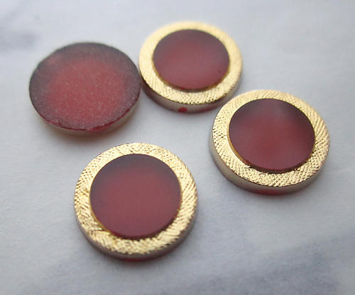 12 pcs. glass red w gold tone plated edge flat back cabochons 9mm - f3709