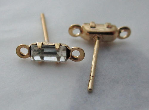 6 pieces (3 pair) baguette rectangle rhinestones prong set in gold tone pierced earring posts w loops - f3729